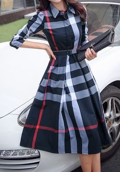 Navy Blue Plaid Belt Turndown Collar Long Sleeve Midi Dress