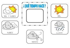 El tiempo - The weather (Español - Spanish) Church Activities, Learning Activities, Kids Learning, Activities For Kids, Preschool Spanish, Spanish Classroom, Which Day Is Today, Go Math, 1st Grade Science
