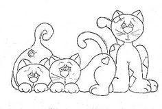 risco para pintar tres gatinhos