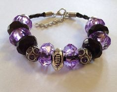 SALE Baltimore Ravens Football Inspired Beaded Leather Adjustable Bracelet with Silver Tone Football