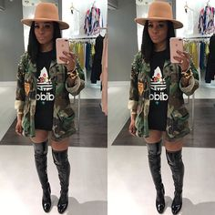 """In my favorite selfie spot at @pressedatl #workin.....Come by open till 6pm today! & totally loving our """"Clear Heel Pat T/H Boots had to rock um today available in-store & online at PRESSEDATL.COM Heels Outfits, New Outfits, Fall Outfits, Cute Outfits, Fashion Outfits, Dressy Outfits, Fashion Styles, Fashion Ideas, Camo Fashion"""