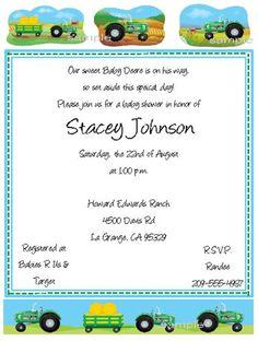 John Deere Baby Shower Invitations -- Keepsake Imprints Online Store