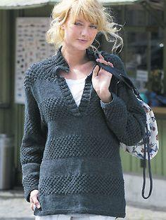Free Knitting Pattern - Women's Sweaters: Collared Sweater