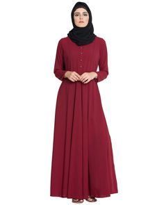 Sana-Umbrella Cut Abaya With Bottons On Yoke-Maroon-Nida Matt-Maroon Yellow Dress, Blue Dresses, White Dress, Arabian Women, Muslim Dress, Islamic Clothing, Muslim Women, Online Clothing Stores, I Dress