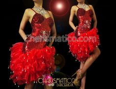 Charismatico Dancewear Store - CHARISMATICO Red sequined and beaded asymmetrical salsa dress with Organza ruffles , $169.00 (http://www.charismatico-dancewear.com/charismatico-red-sequined-and-beaded-asymmetrical-salsa-dress-with-organza-ruffles/)