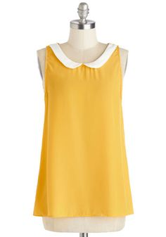 Classy Collector Top in Sun - Yellow, White, Sleeveless, Collared, Scoop, Mid-length, Woven, Peter Pan Collar, Work, Yellow, Sleeveless, Var...