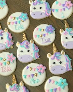 Cyan and Lavender Assorted Unicorn Biscuits Iced Cookies, Royal Icing Cookies, Cookies Et Biscuits, Party Unicorn, Unicorn Themed Birthday Party, Unicorn Foods, Unicorn Cookies, Happy 1st Birthdays, Birthday Cookies