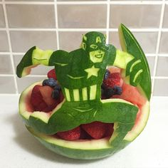 Captain America from the Avengers | Watermelon fruit salad carving | Party food | Fruit platter