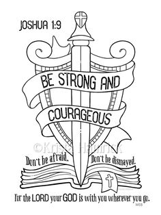 This Be Strong and Courageous coloring page Bible journaling tip-in is just one of the custom, handmade pieces you'll find in our digital shops. Bible Crafts, Bible Art, Jesus Crafts, Bible Verses For Kids, Kids Bible, Journaling, Bible Verse Coloring Page, Sunday School Coloring Pages, Bibel Journal