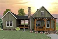 Vacation house plan has a unique layout with a spacious screened porch separating the optional 2-bedroom section from the main part of the house.