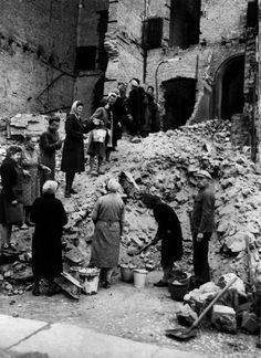 'Rubble Women', 1945-1949 'Trümmerfrau (literally translated as ruins woman or rubble woman) is the German-language name for women who, in the aftermath of World War II, helped clear and reconstruct the bombed cities of Germany and Austria. Between 1945 and 1946, the Allied powers, in both West Germany and East Germany, ordered all women between 15 and 50 years of age to participate in the postwar cleanup.'