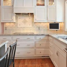 Silestone Quartz Blue Sahara and white cabinets | Kitchen ...