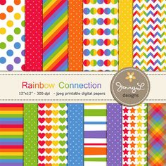 Rainbow Color Digital Papers for Digital by JennyLDesignsShop