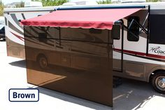 Vista Shade for Electric RV Awnings are the only RV awning shades made specifically for RV awnings. Simply the easiest to set up on the market today. Rv Awning Replacement, Roll Out Awning, Awning Shade, Roller Bar, Sunscreen, Recreational Vehicles, Solar, Mesh, Shades