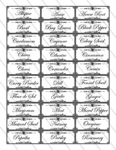 printable labels for spices and herbs by emilly mcdowell vorlagen pinterest gew rze. Black Bedroom Furniture Sets. Home Design Ideas