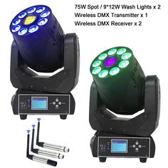 769.26$  Watch now - http://alinzh.worldwells.pw/go.php?t=32772965822 - Hot RGBWA+UV LED Moving Head Beam Spot Wash Lights For Professional Stage Effect Lighting And Wireless DMX Transmitter Receiver 769.26$