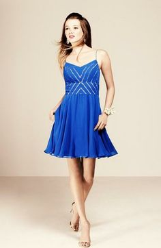 Love for prom! This bright blue fit and flare dress is perfect for dancing the night away.
