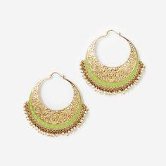 Chartreuse Jaali Filigree Hoop Earrings by ISHARYA Jewelry