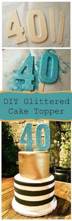 Ruby Wedding Glitter Th Cake Topper