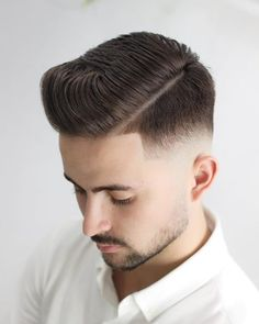 The Best Men's Fall Hairstyles Comb Over Side Part With Sharp Fade Click image to see more. Hard Part Haircut, Side Part Haircut, Comb Over Haircut, Best Short Haircuts, Cool Haircuts, Hairstyles Haircuts, Haircuts For Men, Short Hair Cuts, Short Hair Styles