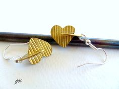 Heart Earrings  Brass Earings Romantic Love by GeorgiaCollection, €21.00