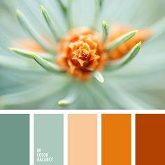 бежевый и бирюзовый, оранжевый, оттенки бирюзового, оттенки рыже-коричневого, рыже-бежевый, рыже-бирюзовый, рыже-коричневый, рыжий, теплый рыжий, цвет ели, цвет сосны, цвет шишки.