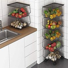 The kitchen is the most important part of our lifestyle, in fact our daily life begins and ends . Produce Storage, Fruit Storage, Storage Baskets, Kitchen Vegetable Storage, Kitchen Storage, Wire Fruit Basket, Wire Baskets, Kitchen Baskets, Kitchen Pantry