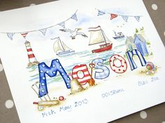 Beach nautical name picture in watercolour and ink Baby Name Art, Baby Name Letters, Baby Art, Nautical Baby Nursery, Nursery Name, Watercolor Illustration Tutorial, Watercolor And Ink, Cute Bear Drawings, Art Drawings