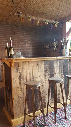 DIY bar with old oak used floorparts