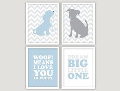 Who doesn't love puppy themed baby room decor? Charming dogs and puppies designs are perfect for a baby's bedroom.  INSTANT DOWNLOAD   4 JPEGS  puppy love nursery by giraffesnstuff, $15.00