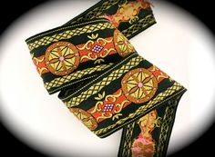 Vintage Woven Jacquard Ribbon  2 x 3 yd  Black by LesBonRibbon