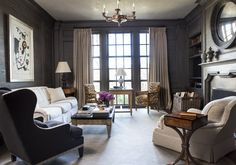 Farmhouse Living Room in Knoxville, TN by Suzanne Kasler Interiors