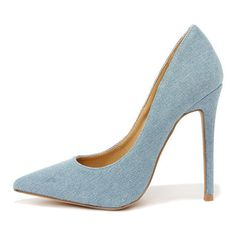 Shoe Republic LA Lean and Jean Blue Denim Pointed Pumps ($25) ❤ liked on Polyvore featuring shoes, pumps, blue, pointy toe stilettos, high heels stilettos, blue shoes, blue pumps and blue high heel shoes