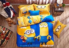 Lotus Karen Despicable Me Minions 100 Cotton 4piece Kids Cartoon Bedding Sets1Duvet Cover1Bedsheet2Pillow Shames ** You can find out more details at the link of the image.