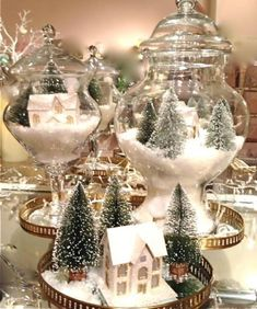 Best Creative DIY Christmas Table Centerpieces Ideas 1 – ViraLinspirationS – Welcome My World Coffee Table Centerpieces, Christmas Table Centerpieces, Gold Christmas Decorations, Christmas Jars, Christmas Table Settings, Christmas Crafts, Coffee Table Christmas Decor, Christmas Displays, Miniature Christmas