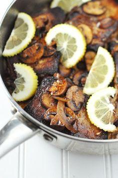 Sauteed Garlic Lemon Pork Chops with Mushrooms and Onions