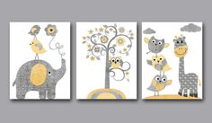 baby room elephant yellow and grey | Baby Boy Nursery art print Childrens Wall Art Baby by artbynataera