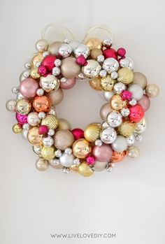 DIY Christmas Ornament Wreath from @liveloveDIY