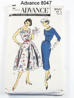 Vintage 50s Dress Pattern  Advance 8047  by ThePatternSource, $44.00