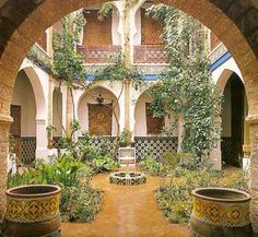 Courtyards patios garden rooms and outdoor rooms porches and great places for plants flowers trees real or faux. Outdoor Rooms, Outdoor Gardens, Outdoor Living, Landscape Design, Garden Design, Casa Patio, Spanish Villas, Courtyard House, Spanish Courtyard