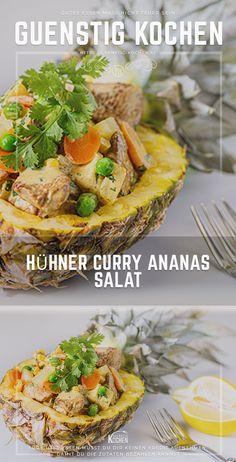 Hühner Curry Ananas Salat ist ein absolut leckeres Rezept nicht nur für die heiße Jahreszeit. Serviert in einer Ananashälfte wird dieser durchaus preiswerte Gaumenschmaus auch zum absoluten Augenschmaus und somit zum Highlight. #food #recipes #rezepte #yummy #ideen Cafe Restaurant, Convenience Food, Easy Peasy, Salad Recipes, Delish, Salads, Curry, Good Food, Low Carb