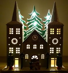 LED Wooden Double Spire Church with Trees Christmas - Hand Painted - (One off)  This wooden scene is hand painted using mixed media, varnish and acrylic paint - Night