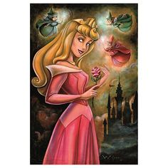 Disney Sleeping Beauty by Darren Wilson - Princess Aurora prepares for her fairy tale romance in this fine art portrait by Darren Wilson. The Three Good Fairies hover nearby to light the way. Disney Girls, Disney Love, Disney Magic, Walt Disney, Disney Stuff, Aurora Disney, Disney Nerd, Disney Fairies, Downtown Disney