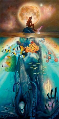 """Fathoms Below"" I feel like this image perfectly portraits how a Pisces is experienced by others. A mysterious, shy little moonchild who's busy looking at the stars, alone. If you just dare to dive a little deeper you can find the magick of her ocean, plentiful with colorful fish and coral. If you dive too deep you discover her sea monsters, who lie far below the waves, but are always there to haunt her. And in the distance, a glittering castle, where her true soul lies. xxx"