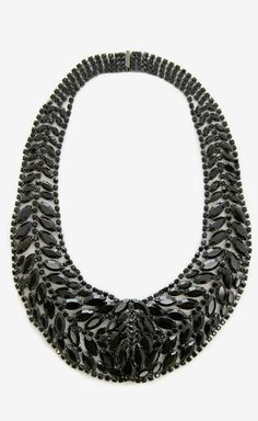 Black Jeweled Bib Necklace.