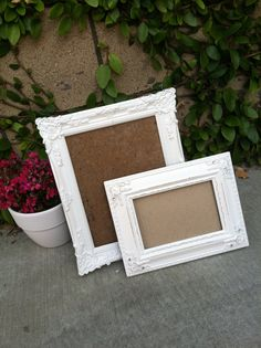 Set of 2 Ornate Picture Frames,White, Shabby Chic, Nursery Decor,  Distressed Wood, (Los Angeles)