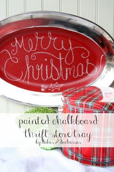 a thrift store tray repurposed into a chalk board for Christmas