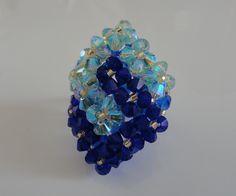Bague bleue et verte 2 Carrés entrelacés en perles de crystal Swarovski : Bague par perles-and-pinpin