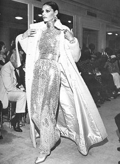 Model displays a creation of Norman Norell during his Fall/Winter 1968 Fashion Show,and photographed by Bill Cunningham for Harper's Bazaar.
