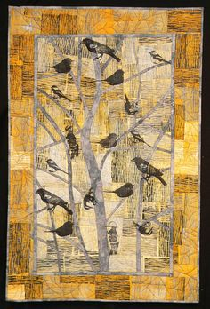 Winter Birds 27 x hand dyed cotton, block printed, pieced, screen printed, machine quilted. This lady brings her own hand-carved blocks into her printing.Living and Dyeing Under the Big Sky: For the Birds-Cynthia St.Cynthia StCharles I like the way the ba Bird Quilt, Tree Quilt, Quilt Art, Art Quilting, Quilting Projects, Art Projects, Yellow Quilts, Textiles, Animal Quilts